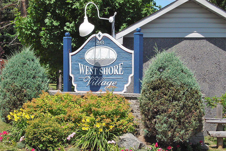 West Shore Village Sign at Entrance