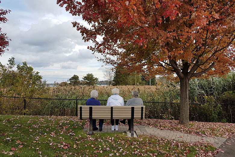 Resident on a bench facing the lake