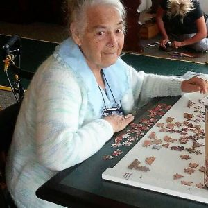 One of our residents making a puzzle