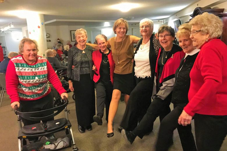 Happy residents at the Christmas Party
